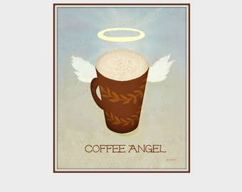 Funny Coffee print Funny coffee art Coffee Angel Art College dorm decor Funny kitchen decor Cute coffee decor Coffee Lover Gift Caffe Latte