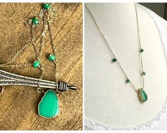 Green Chrysoprase gemstone necklace. Emerald necklace. 14k gold filled necklace. Chakra necklace. Bridal Necklace.