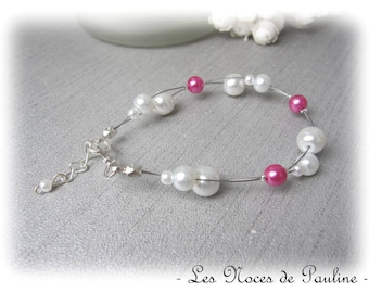Bracelet ivory and fuchsia Alice 'Tradition' collection