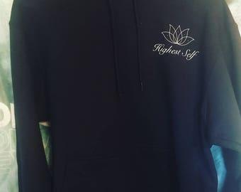 HS Lotus Black Hoodie 100% cotton