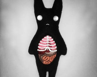 Embroidered Monster Little Black Bunny Plush