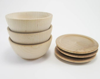 3 Small Wood Plate and Bowl Sets | Unfinished Wooden Plate and Bowl for Play Kitchen, Doll House, Waldorf or Montessori Nature Table