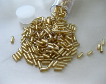 5mm Gold Glass Bugle Beads