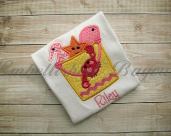 Beach Bucket with Crab and Fish Applique T-shirt or Onesie for Girls Personalized
