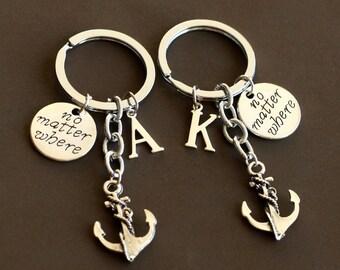 best friends keychain, anchor keychain, no matter where keychain, BFF keychain, Birthday Gift, anchor jewelry, friendship graduation gift