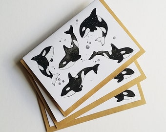 Space Orcas - greeting cards - whales - space - stars - handmade - birthday card - all occasions card - blank card