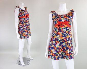 1960's Blue Floral Cotton Mini Dress