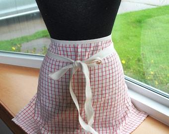 Handmade Linen Cafe Apron Red White Gingham  Bistro Apron Barista Apron Half Apron Kitchen Apron Baking Apron
