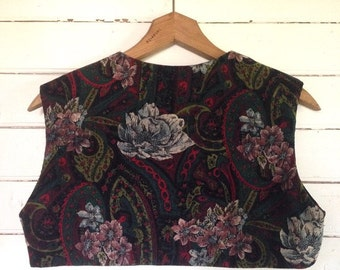 reversible bolero - paisley pinwale - vintage fabric