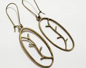 Antique Bronze Tree Branch Pendant Earrings with Kidney EarWire, Minimal Earrings