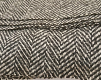 """1960's Vintage Black and White Chevron Woven Wool Fabric   1 Yard by 2"""" wide  60's Salt and Pepper Autumn Fall Woolen Material"""