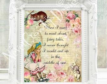 Alice in Wonderland Quote Alice in Wonderland Print Alice in Wonderland Decor Alice in Wonderland Wall Art Mad Hatter Tea Party Alice  C:53
