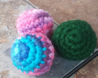 Basic Cat Toy - Handmade Cat Toy - Crochet Yarn Toy with Catnip - Soft Cat Toy - Three Pack of Cat Toy - Cat Toys for Kittens and Small Pets