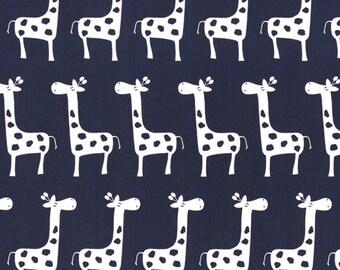 Premier Prints Stretch Giraffe Navy Blue White Home Decorating Fabric BTY