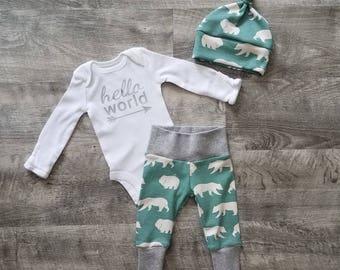 Baby Boy Coming Home Outfit. Newborn Boy Coming Home Outfit. Boy Coming Home Outfit. Coming Home Outfit Boy. Hello World. Bear Hike.