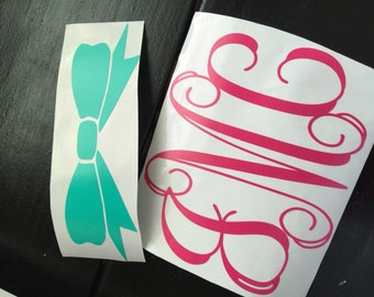 Name Decal, Personalized, Monogram, Bow Decal, Car Decal, Laptop Decal, Vinyl Lettering, Yeti Cup Decal, Yeti Cup Decal