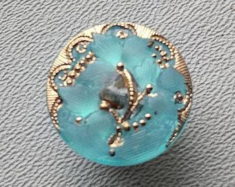 CZECH GLASS BUTTON: 18mm Flower with Scrolls Handpainted Czech Button, Pendant, Cabochon (1)