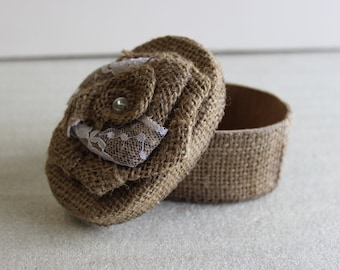 Burlap Jewelry Box - Oval (4 Pack)