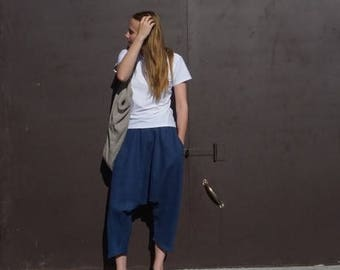 Linen pants, Dark blue linen pants, Blue linen pants, Oversize linen pants, plus size pants, boho tipe pants, linen trousers, boho trousers