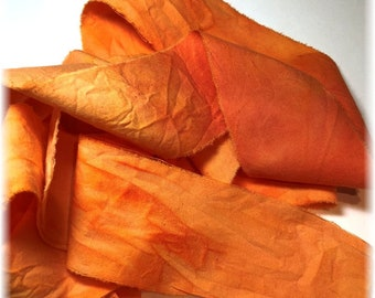 2 Yards Hand Dyed Cotton Ribbon/Quilt Binding in TANGERINE for Your Creative Adventures!