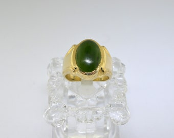 14k Gold And Jade Ring. Size 6.5