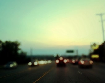 summer night drive, blur, bokeh, fine art photography