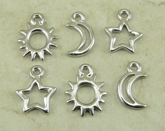 TierraCast Sun Moon and Star Open 6 Charms Mix Pack > Stellar Milky Way Outer Space Rhodium plated Lead Free Pewter - I ship Internationally