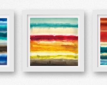 SET of THREE Color + Rain art prints, limited edtion giclees, abstract wall art, modern art print, coastal art