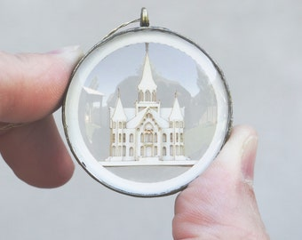 LDS Provo City Center Glass and Papercut Temple Ornament