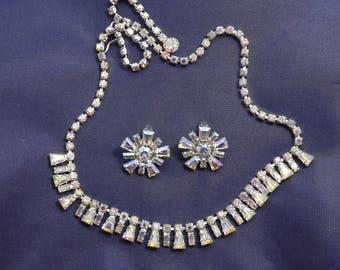 Stunning Vintage B David Aurora Borealis AB Baguette Rhinestone Necklace earrings Set Demi Parure