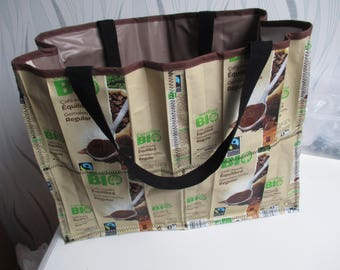 mother's day shopping bag made of recycled and lined with oilcloth, organic coffee gift package