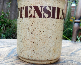 1970s Utensil Jar, Utensil Pot, Kitchen Storage, Brown Flecked Utensil Pot, 1970s Stencil