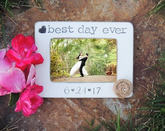 personalized Wedding picture frame custom Bridal shower gift Wedding couple husband wife Best day Ever anniversary gifts for her him
