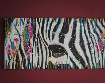 Zebra, acrylic painting, hand painted, canvas, eye, animal, safari Africa, black and white, touches of color, rainbow, stripes, splashed