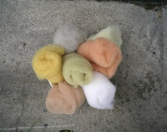 Rainbow (wool carded by hand, vegetable dye)