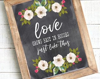 Love grows best in houses just like this 8x10 digital print, instant download, printable wall art rustic, farmhouse, housewarming, new home