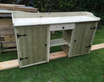 1.5 m potting bench / table with cupboards wooden