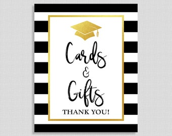 Cards & Gifts Graduation Party Sign, Black and White Striped Graduation Sign, 8x10 inch, INSTANT PRINTABLE