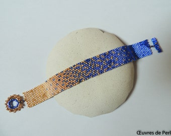 Blue and gold seed beads bicolor bracelet in peyote stitch Beaded bracelet Miyuki bracelet Beadwork bracelet Christmas gift for her