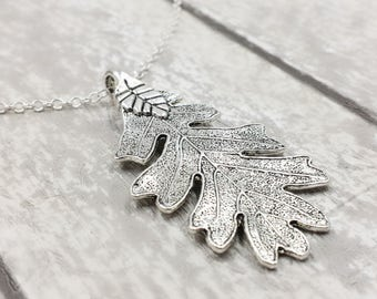 Oak Leaf Necklace, Ranger's Apprentice Inspire Oak Leaf Necklace, Woodland Oak Leaf Necklace, Silver Leaf Necklace