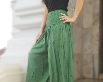 Harem Pants Leggings Smocked Baggy Genie Yoga Green