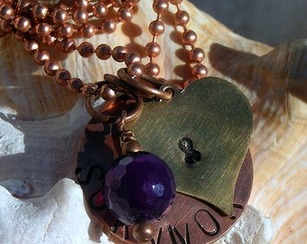 Copper, Brass Survivor with Ribbon and Amethyst Stone Ball Chain 10 Inch Necklace,Jewelry