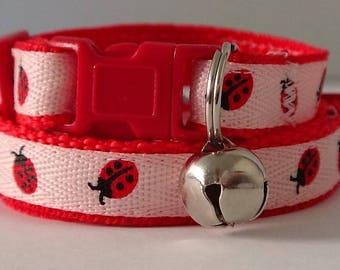 Cat Collar-Kitten Collar-Ladybug Cat Collar-Pink Girl Cat Collar-Adjustable Breakaway Cat Collar-Cute Cat Collar with Removable Bell