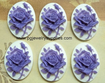 25mm x 18mm rose and bud flower purple mauve on white cameos 6 pieces lot l