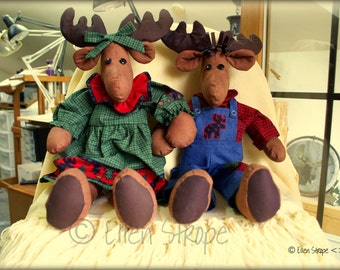 CARD, Moose card, Mr Mrs Moose, Ellen Strope, Blank Cards, Note cards, Moose decor, Paper goods, Green, Blue, Stuffed animals