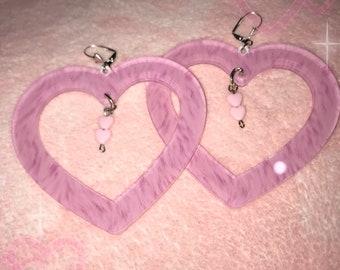 Fur Heart Earrings