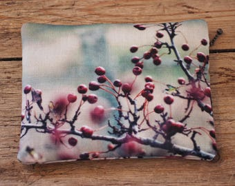 Red berries purse with zip, iPhone pouch, tree zipper clutch purse, hawthorn tree