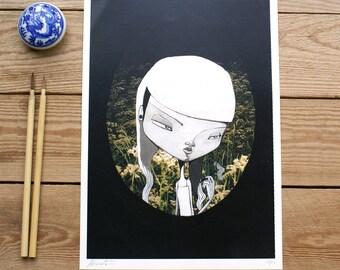ART PRINTS//girl in the garden // illustration