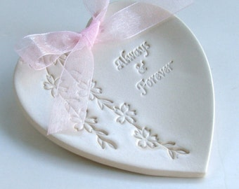"Heart Ring Dish, Ring Bearer Pillow, Porcelain wedding ring dish, Ceramic wedding ring holder,  "" Always and Forever"" Shidare Sakura"