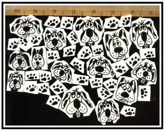 Mosaic Tiles crazy BLACK DOGS n PAWS mosaic Tile